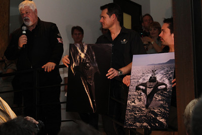 """Captain Paul Watson, SSCS CEO Steve Roest and Laurens de Groot unveil the Gojira interceptor vessel.  Sea Shepherd launch party for the """"Operation No Compromise"""" Antarctic Whale Defense Campaign and the Gojira Interceptor Vessel unveiling in Los Angeles, CA. on October 23, 2010"""