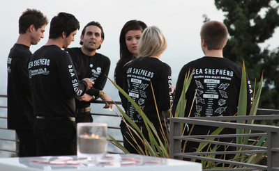 "Workers prepare for the night's festivities.  Sea Shepherd launch party for the ""Operation No Compromise"" Antarctic Whale Defense Campaign and the Gojira Interceptor Vessel unveiling in Los Angeles, CA. on October 23, 2010"