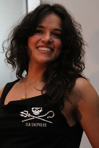 "Actress Michelle Rodriguez models a Sea Shepherd shirt for auction.  Sea Shepherd launch party for the ""Operation No Compromise"" Antarctic Whale Defense Campaign and the Gojira Interceptor Vessel unveiling in Los Angeles, CA. on October 23, 2010"
