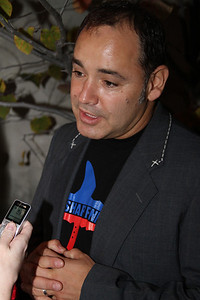 "Ken Jordan of The Crystal Method is interviewed on the red carpet.  Sea Shepherd launch party for the ""Operation No Compromise"" Antarctic Whale Defense Campaign and the Gojira Interceptor Vessel unveiling in Los Angeles, CA. on October 23, 2010"