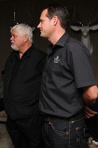 "Captain Paul Watson and SSCS CEO Steve Roest.  Sea Shepherd launch party for the ""Operation No Compromise"" Antarctic Whale Defense Campaign and the Gojira Interceptor Vessel unveiling in Los Angeles, CA. on October 23, 2010"
