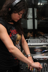 "Actress Michelle Rodriguez DJ's a set during the party.  Sea Shepherd launch party for the ""Operation No Compromise"" Antarctic Whale Defense Campaign and the Gojira Interceptor Vessel unveiling in Los Angeles, CA. on October 23, 2010"