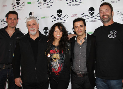 "Sea Shepherd crew, actress Michelle Rodriguez & host James Costa.  Sea Shepherd launch party for the ""Operation No Compromise"" Antarctic Whale Defense Campaign and the Gojira Interceptor Vessel unveiling in Los Angeles, CA. on October 23, 2010"