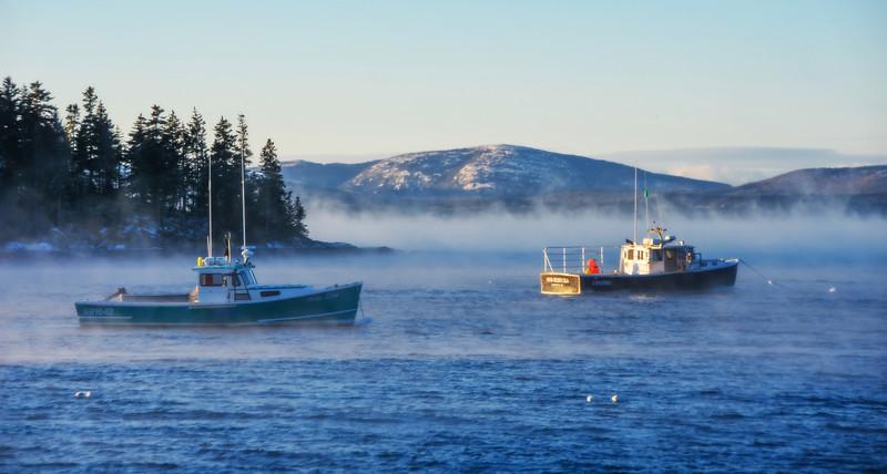 Sea Smoke - Sorrento Harbor. Mount Desert Island in background.