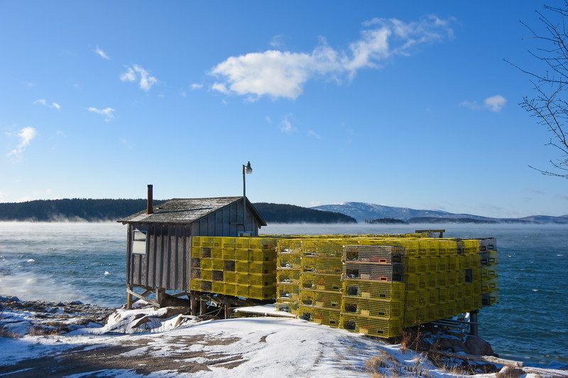 Lobsterman's Wharf - South Gouldsboro. Cadillac Mountain in background.