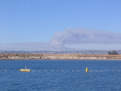 Smoke from a wildfire in Rancho Penasquitos