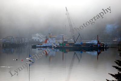 Seabeck Marina and Pacific Pile & Marine in Fog