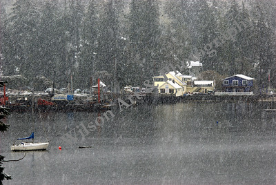 Seabeck Marina and Pacific Pile and Marine - Snowing
