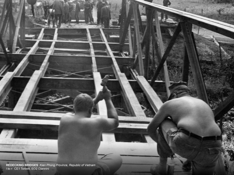 Redecking Bridges-Kien Phong Province, RVN<br /> l to r: CE1 Torbett, EO2 Giannini