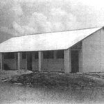 Xom Len two-room elementary school constructed by Team 0518 in Ba Xuyen Province. Basic Vietnamese design consists of plastered four cell building tile walls with wooden truss and sheet metal roof.<br /> Photo: Seabee Team Deployment Completion Report