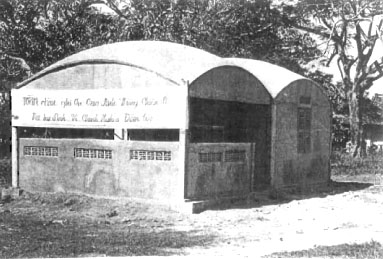 One of three Vietnamese Information Service reading rooms constructed by Team 7102 in Phuoc Tuy Province. The other two of the VIS structures had three precast concrete domes.<br /> Photo Seabee Team Deployment Completion Report