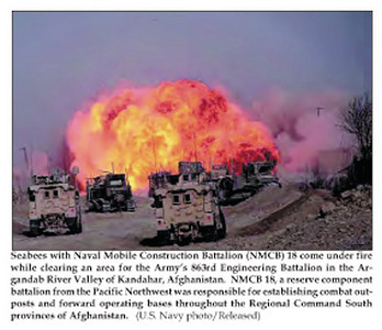 Seabees with NMCB-18 come under fire while clearing an area for the Army's 863rd Engineering battalion in the Argandab River valley of Kandahar, Afghanistan