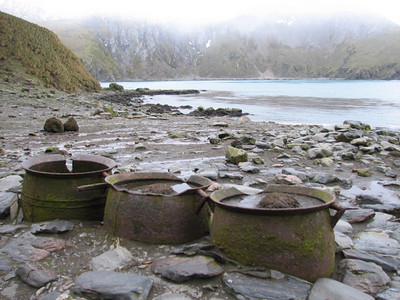 relics of the sealing days, trypots for rendering blubber
