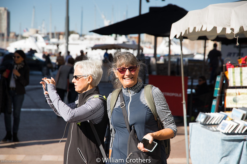 Barb and Nina scope out the port of Marseliie