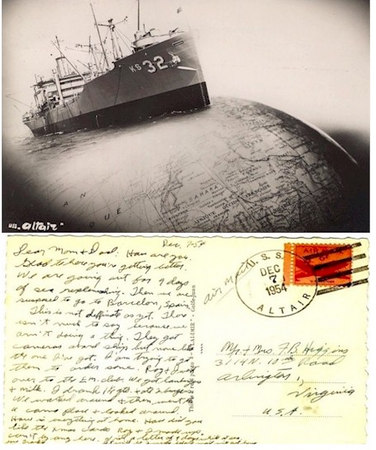 A great postcard written by Frank R. Higgins, SN, 1953-1956.  Please note the date of the card!