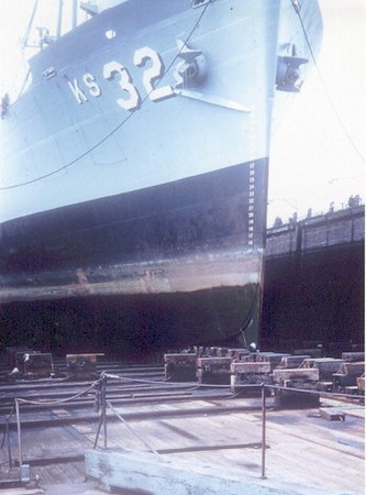 Good shot of the Altair's bow in dry dock in early 1955.