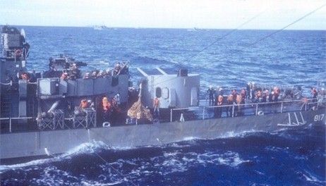 The USS Corry, DDR-817 alongside the Altair for replenishment.