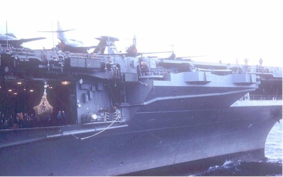 The USS Lake Champlain, CVA-39 along side the Altair.