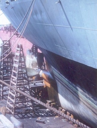 Another shot of the Altair's stern while in dry dock in early 1955.