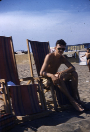 Summer 1955 - Gerald Grice on the beach relaxing.