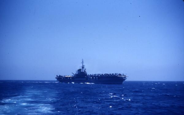 Summer 1955 - USS Lake Champlain CV 39 approaching her station
