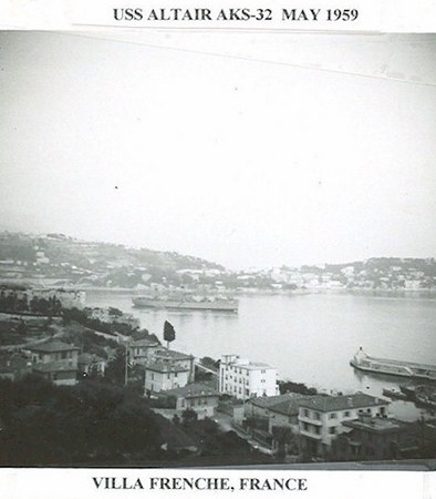 USS Altair anchored at Villefranche, France in May 1959.