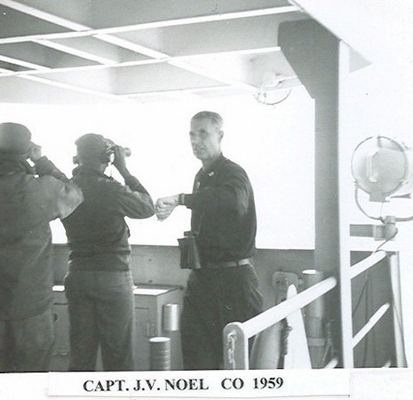 CAPT. John V. Noel on the Altair bridge; 1959.