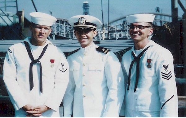 (L. to R.)  Dean Pearce CT3, ENS Fred Keefer and John Jefferies CT1.