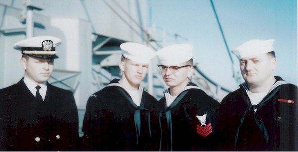 L. to R.)  LTJG Norman Rubinfeld, Dean Pearce CT3, John Jefferies CT1 and George Mitchell MA2.