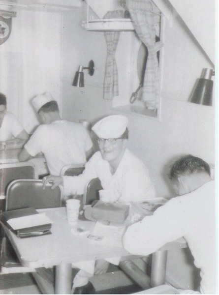 Joe Basso is relaxing in the mess hall on board the Altair.