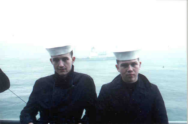 Robert Lecher & Jim Spiegel on Sea and Anchor detail at Naples 1961.  Soviet freighter in background