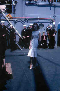 Fashion show a Cannes 1961;  After show clothing was on sale on the mess deck