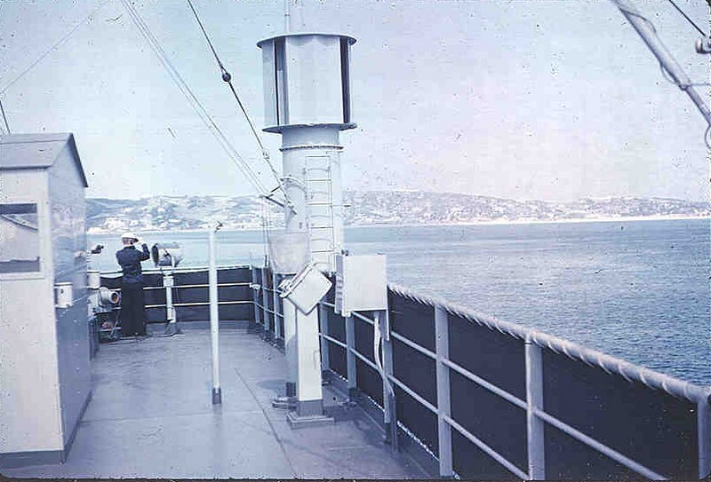Jim Spiegel on Sea and Anchor lookout;  the port side was safe with Jim; Neal on the starboard side was taking pictures