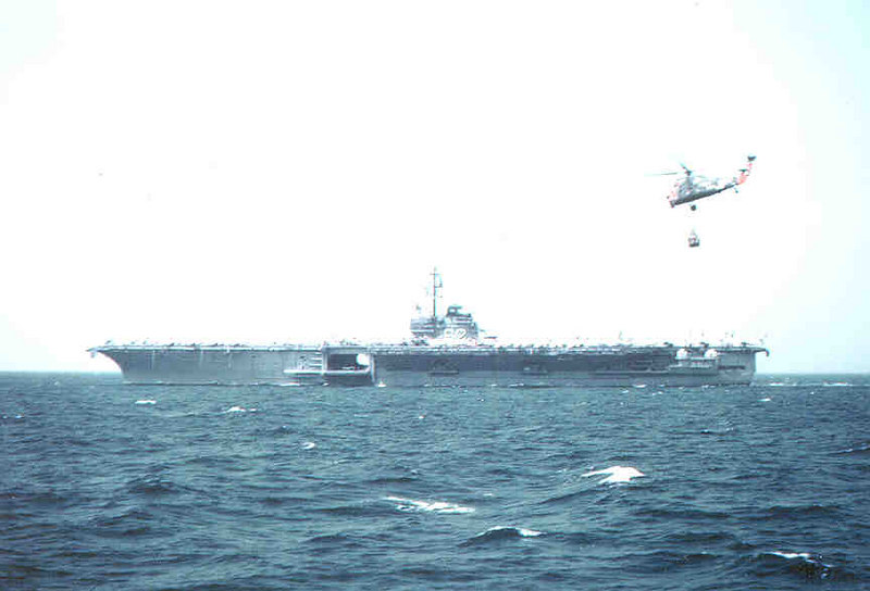 Resupplying USS Independence CV62 by helo on a cold day early 1961
