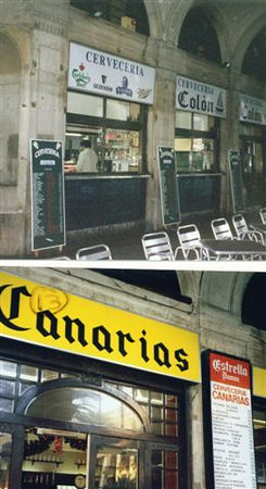 Two bars/restaurants  in Plaza Real and both have been in operation for more than 50 years.