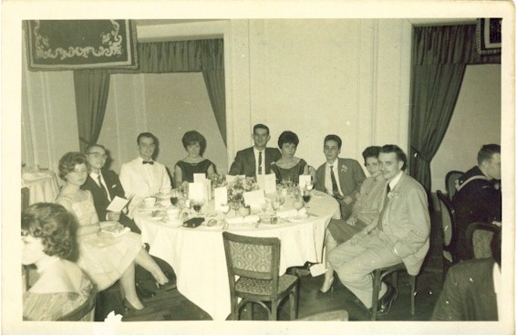 The Altair Ship's Party at the Ritz Hotel on Calle Diagonal in late 1960.  Billie and Elena Cabbage are directly across from the vacant chair (Billie is in the dark suit).  John Jefferies CT1 (wearing glasses) is at the far left.  To the left of John Jeffries is Andre DeLeon, SK2.   Far right is Robert W. Lecher and his wife Millie.  Next to Millie Lecher is Jose Luis DelGado, a clerk at the Cosmos hotel, and a friend of Daniel Douglas and Tom Planes.  Photo courtesy of Billie Cabbage.