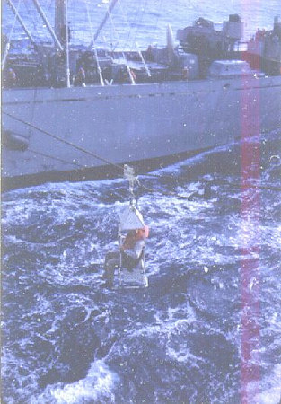 LCDR Verdow being transferred at sea 1962.