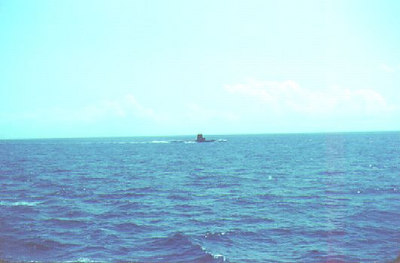 Passing a submarine in the Mediterranean 1963.