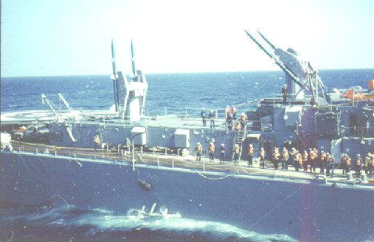 USS Canberra CAG2 with missiles - alongside the Altair 1962.