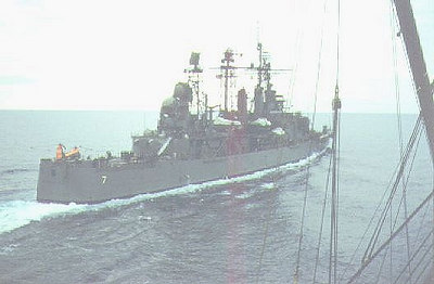 USS Springfield CLG7 leaving the Altair after replenishment.