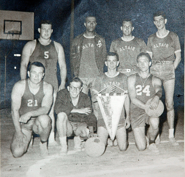 Front row L to R  Gene Leffler, ?, ?, ?<br /> Back Row ?, ?, ?, ?  Any one kno who the ?'s are?