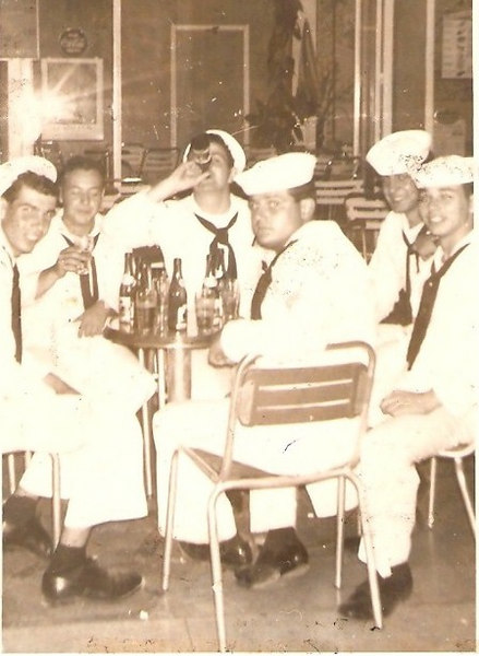After a hard cruise relaxing in Toulon.  Frank DiSalvo 2nd. from left with no hat.