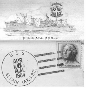 U.S.S. Altair letter head and postmark.