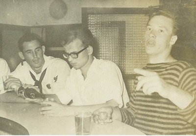Charles Hahn (left), relaxing in Naples 1963-64. Who are the other two?