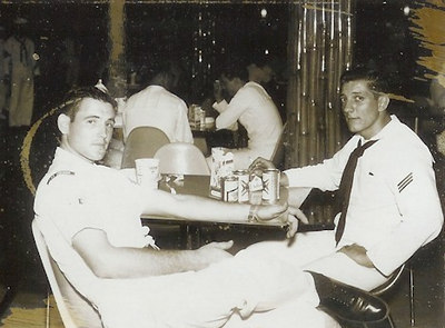 Charles Hahn (left), relaxing in Naples 1963-64. Who is the other guy?