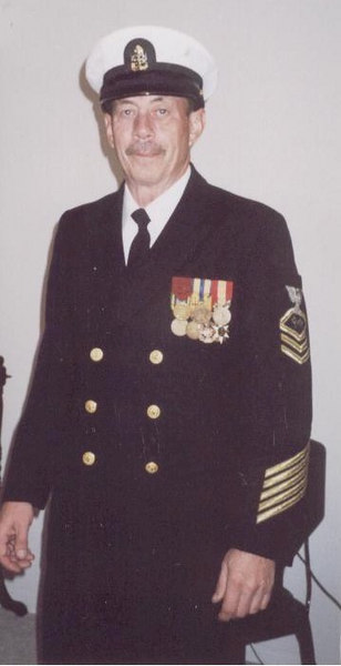 Chief Thomas M. Smith at the VFW Parade, Veteran's Day, 2001.  Sure wish I could still fit in my blues!