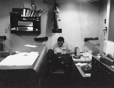 Jerry Pelton working hard in his office aboard the Altair.