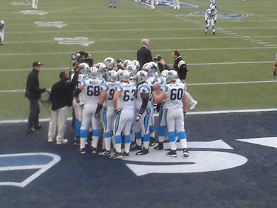 Carolina Panthers huddle before the game