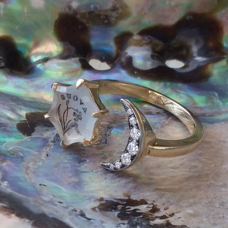 """A Vous/To You"" Moon and Stars Chalcedony Ring, by Seal & Scribe"