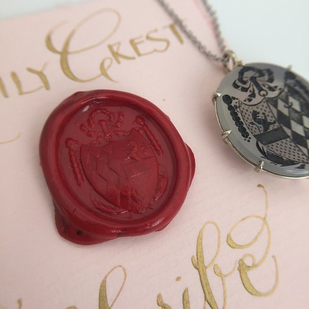 Chalcedony Lion Family Crest Pendant